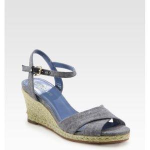 Cole Haan Shoes - Women's Blue Air Camila Denim Espadrille Wedge San